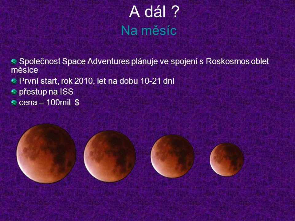 A dál ? Na měsíc Společnost Space Adventures plánuje ve spojení s Roskosmos oblet měsíce První start, rok 2010, let na dobu 10-21 dní přestup na ISS c
