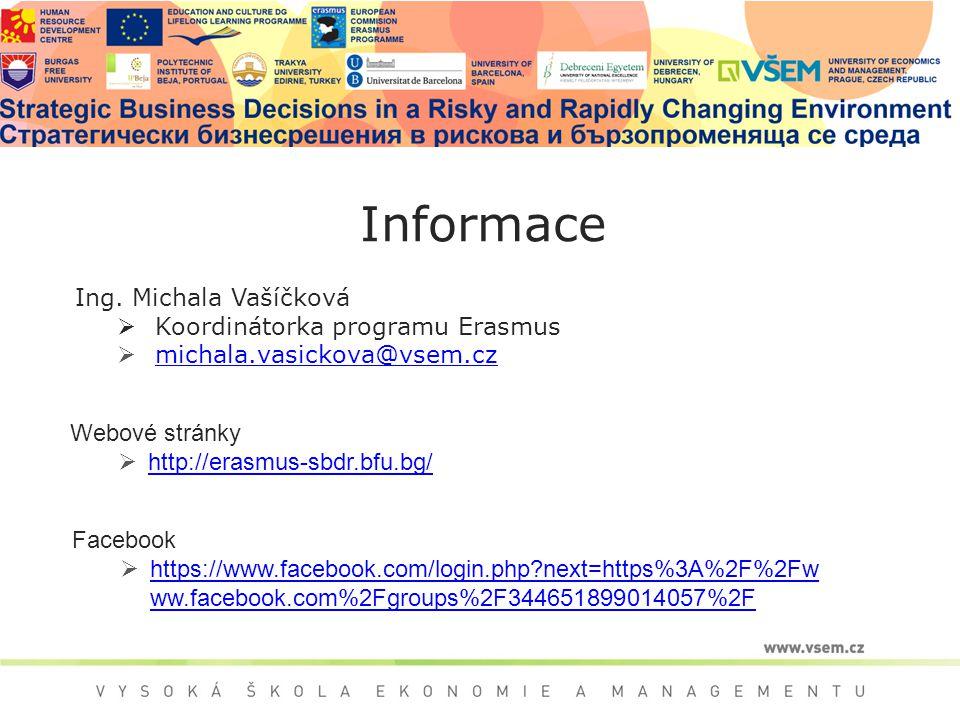 Ing. Michala Vašíčková  Koordinátorka programu Erasmus  michala.vasickova@vsem.cz michala.vasickova@vsem.cz Informace Webové stránky  http://erasmu