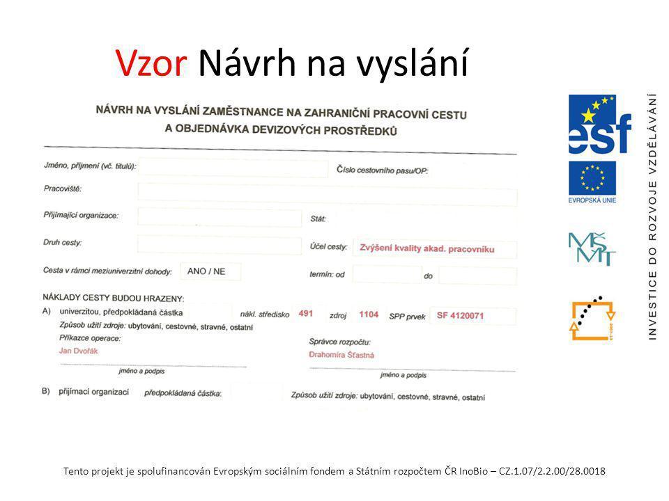 Tento projekt je spolufinancován Evropským sociálním fondem a Státním rozpočtem ČR InoBio – CZ.1.07/2.2.00/28.0018 Vzor Návrh na vyslání