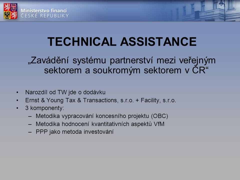"""TECHNICAL ASSISTANCE """"Zavádění systému partnerství mezi veřejným sektorem a soukromým sektorem v ČR"""" Narozdíl od TW jde o dodávku Ernst & Young Tax &"""
