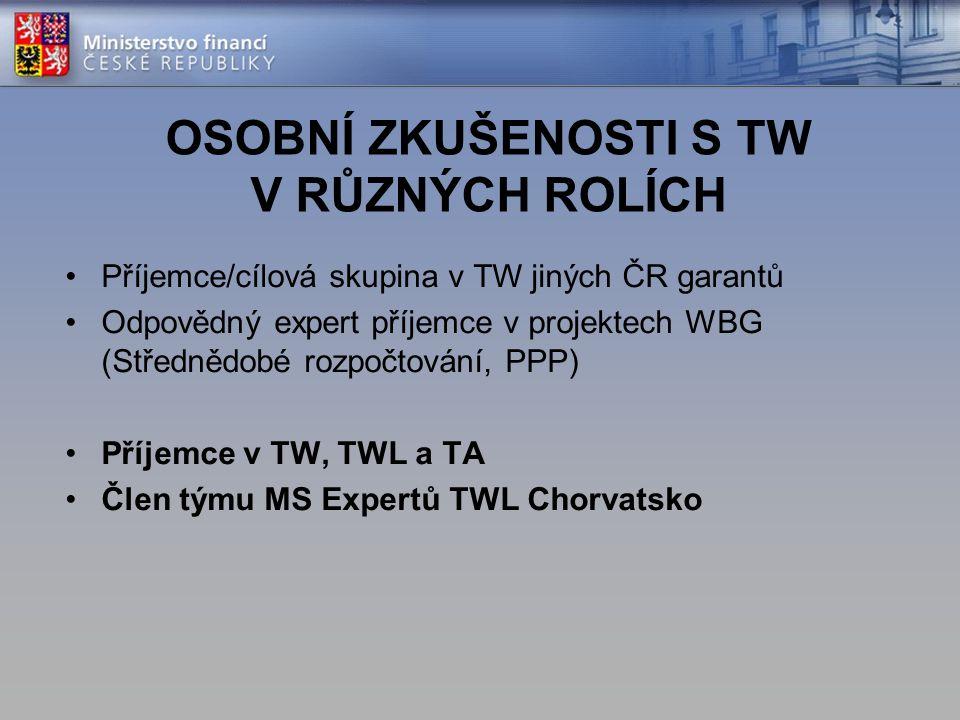 OSOBNÍ ZKUŠENOSTI S TW V RŮZNÝCH ROLÍCH Příjemce/cílová skupina v TW jiných ČR garantů Odpovědný expert příjemce v projektech WBG (Střednědobé rozpočt