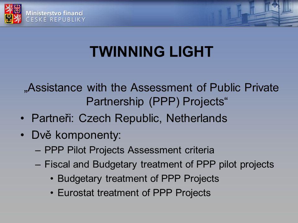 "TWINNING LIGHT ""Assistance with the Assessment of Public Private Partnership (PPP) Projects"" Partneři: Czech Republic, Netherlands Dvě komponenty: –PP"
