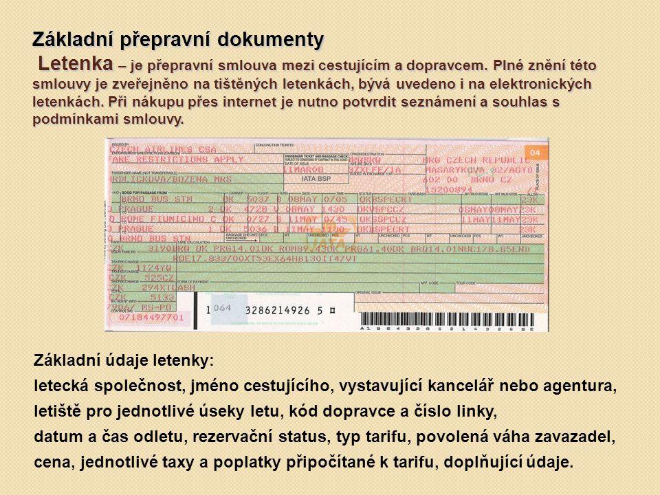 Základní přepravní dokumenty Letenka – je přepravní smlouva mezi cestujícím a dopravcem.