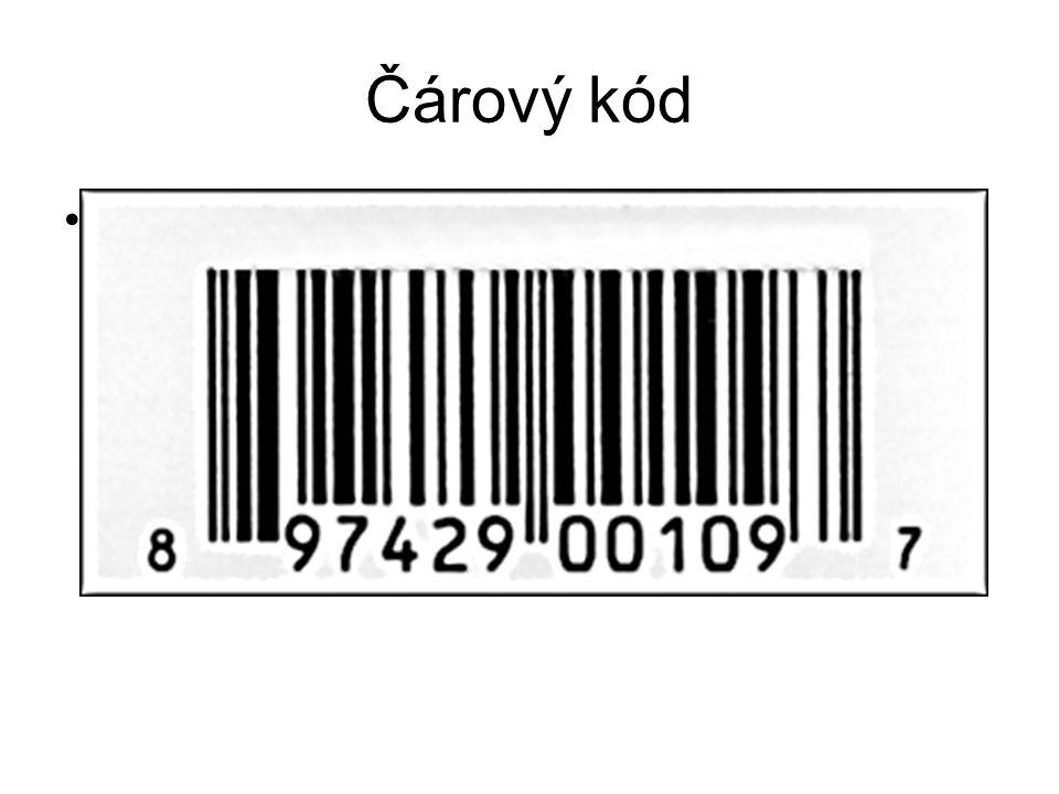 Čárový kód Čárový kód (Universal Product Code) Kontrolní číslice se vypočítá jako doplněk trojnásobku součtu lichých číslic a součtu sudých číslic do násobku čísla deset.