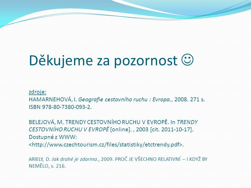 Děkujeme za pozornost zdroje: HAMARNEHOVÁ, I. Geografie cestovního ruchu : Evropa., 2008. 271 s. ISBN 978-80-7380-093-2. BELEJOVÁ, M. TRENDY CESTOVNÍH