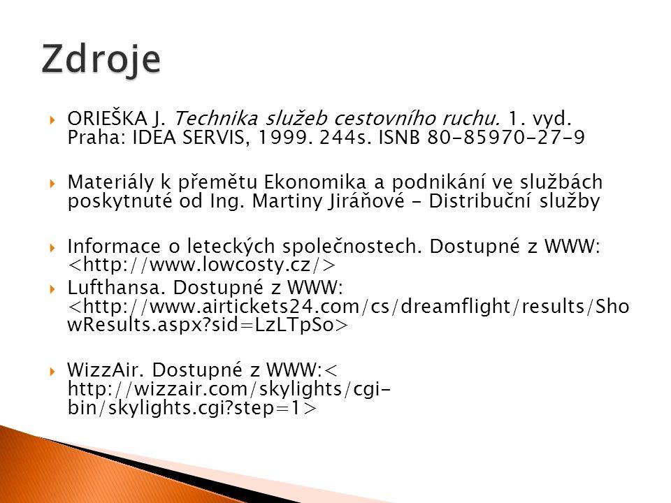  ORIEŠKA J. Technika služeb cestovního ruchu. 1. vyd. Praha: IDEA SERVIS, 1999. 244s. ISNB 80-85970-27-9  Materiály k přemětu Ekonomika a podnikání