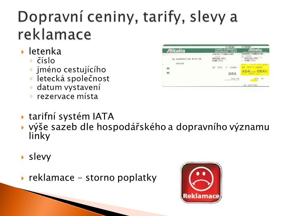  letenka ◦ číslo ◦ jméno cestujícího ◦ letecká společnost ◦ datum vystavení ◦ rezervace místa  tarifní systém IATA  výše sazeb dle hospodářského a