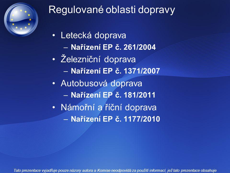 Regulované oblasti dopravy Letecká doprava –Nařízení EP č.