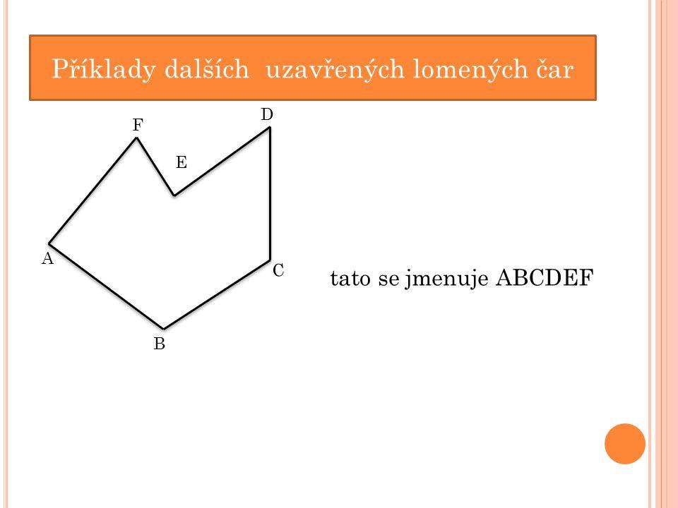 Příklady dalších uzavřených lomených čar A B C D E F tato se jmenuje ABCDEF
