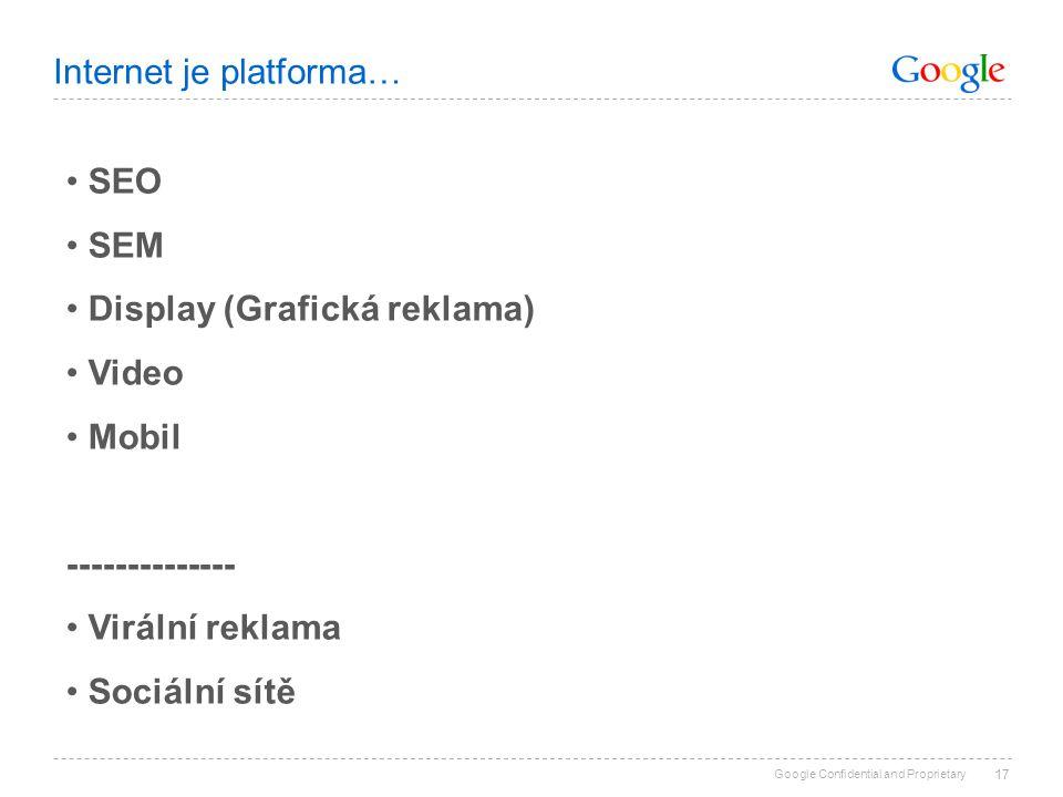 Google Confidential and Proprietary 17 SEO SEM Display (Grafická reklama) Video Mobil -------------- Virální reklama Sociální sítě Internet je platfor