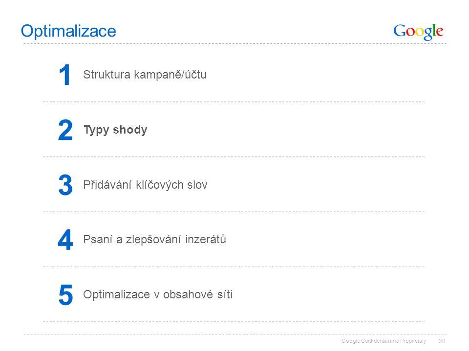 Google Confidential and Proprietary 30 Optimalizace 1 Struktura kampaně/účtu 2 Typy shody 3 Přidávání klíčových slov 4 Psaní a zlepšování inzerátů 5 O