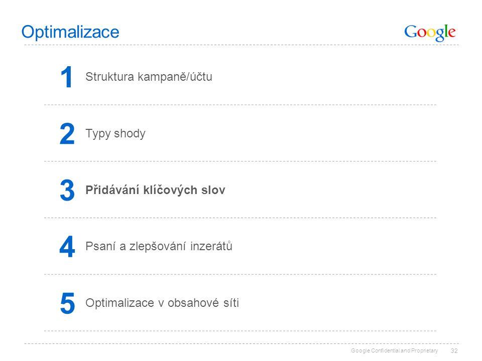 Google Confidential and Proprietary 32 Optimalizace 1 Struktura kampaně/účtu 2 Typy shody 3 Přidávání klíčových slov 4 Psaní a zlepšování inzerátů 5 O