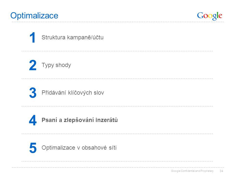 Google Confidential and Proprietary 34 Optimalizace 1 Struktura kampaně/účtu 2 Typy shody 3 Přidávání klíčových slov 4 Psaní a zlepšování inzerátů 5 O