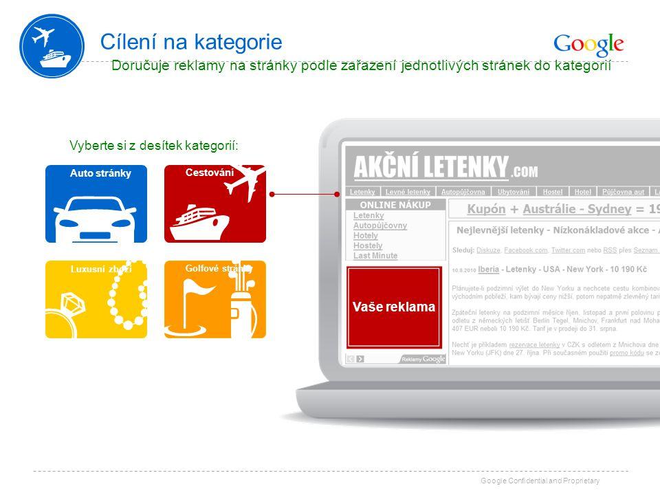 Google Confidential and Proprietary Cílení na kategorie Doručuje reklamy na stránky podle zařazení jednotlivých stránek do kategorií Vyberte si z desí