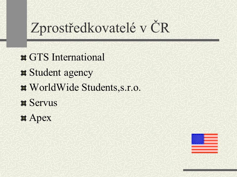 Zprostředkovatelé v ČR GTS International Student agency WorldWide Students,s.r.o. Servus Apex