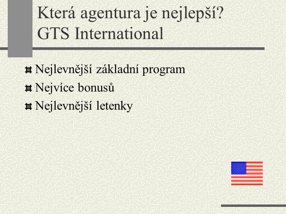 Která agentura je nejlepší? GTS International Nejlevnější základní program Nejvíce bonusů Nejlevnější letenky