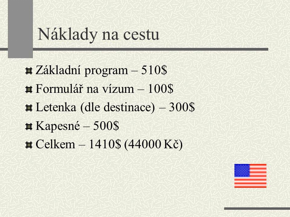 Náklady na cestu Základní program – 510$ Formulář na vízum – 100$ Letenka (dle destinace) – 300$ Kapesné – 500$ Celkem – 1410$ (44000 Kč)
