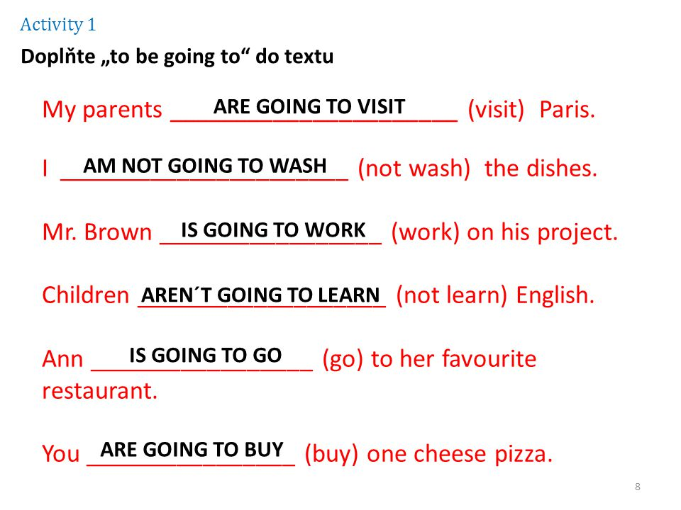 "Activity 1 Doplňte ""to be going to do textu My parents ______________________ (visit) Paris."