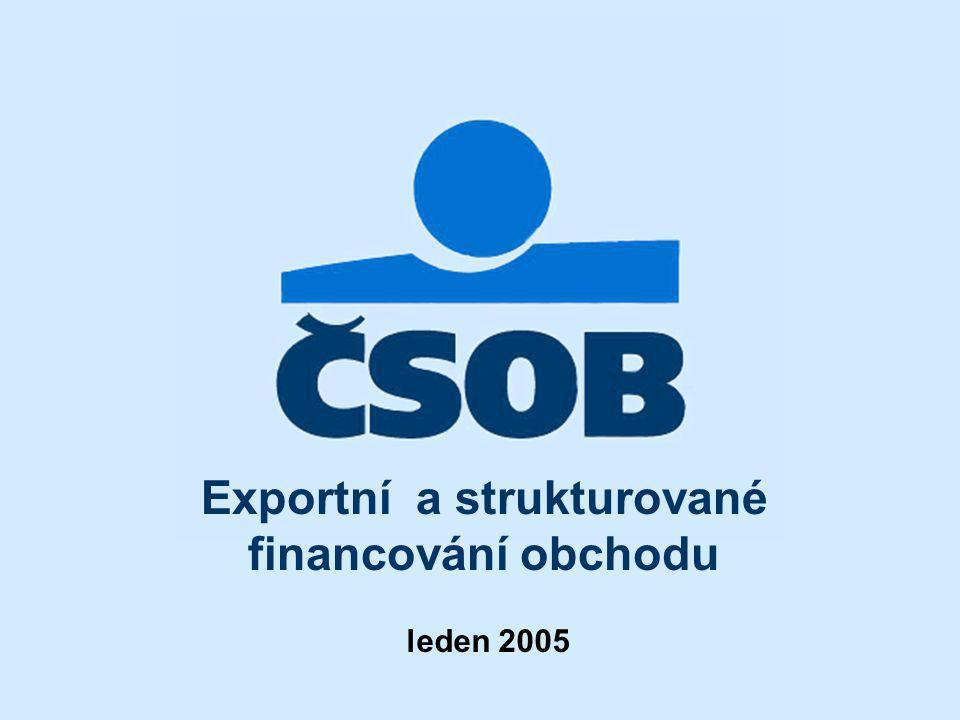 12 Exportní financování Uzavřené rámcové úvěrové dohody na financování českého exportu v teritoriu SNS: Ruská Federace: Vněštorgbank, Moskva - EUR/USD 50 mil.