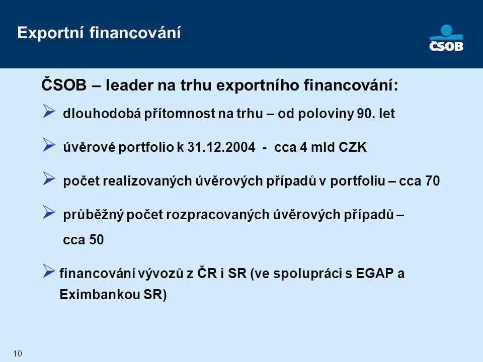 10 Exportní financování ČSOB – leader na trhu exportního financování:  dlouhodobá přítomnost na trhu – od poloviny 90. let  úvěrové portfolio k 31.1
