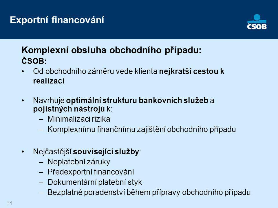 11 Exportní financování Komplexní obsluha obchodního případu: ČSOB: Od obchodního záměru vede klienta nejkratší cestou k realizaci Navrhuje optimální