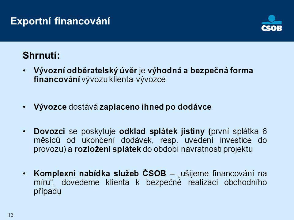 13 Exportní financování Shrnutí: Vývozní odběratelský úvěr je výhodná a bezpečná forma financování vývozu klienta-vývozce Vývozce dostává zaplaceno ih