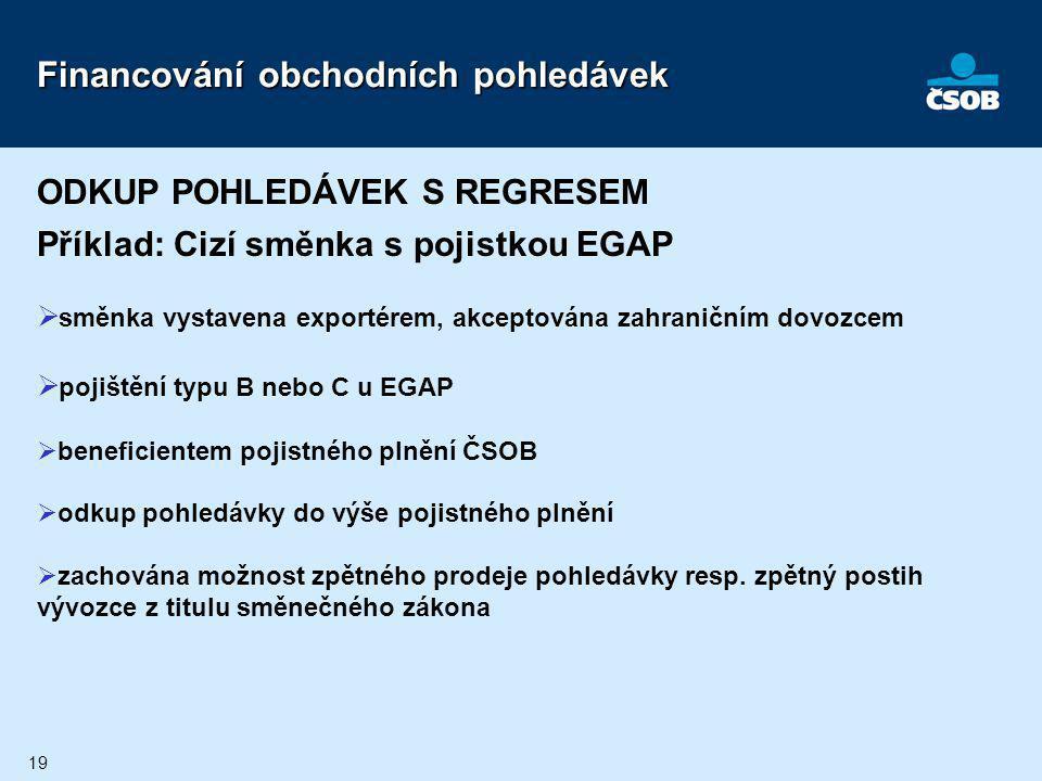 19 Financování obchodních pohledávek ODKUP POHLEDÁVEK S REGRESEM Příklad: Cizí směnka s pojistkou EGAP  směnka vystavena exportérem, akceptována zahr