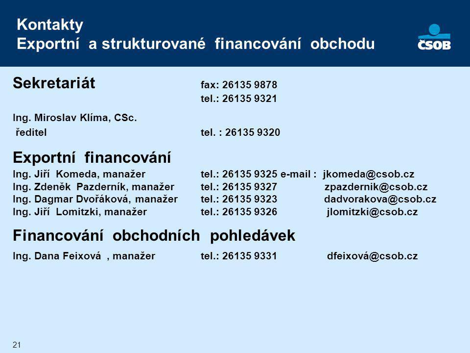 21 Kontakty Exportní a strukturované financování obchodu Sekretariát fax: 26135 9878 tel.: 26135 9321 Ing. Miroslav Klíma, CSc. řediteltel. : 26135 93