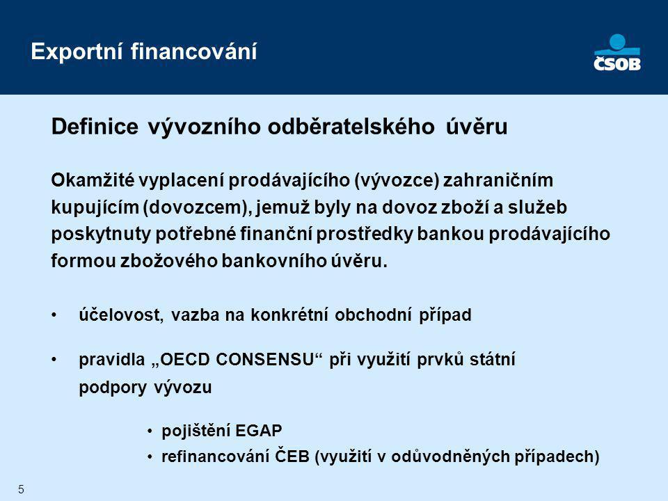 6 Výhody vývozního odběratelského úvěru: VÝVOZCE: - okamžitá výplata při dodávce - vyloučení zahraničních platebních rizik - konkurenceschopnost obchodní nabídky - nízké náklady - nezvyšuje se úvěrová angažovanost - využití prvků státní podpory vývozu DOVOZCE:- rozložení splátek jistiny do období návratnosti projektu Exportní financování