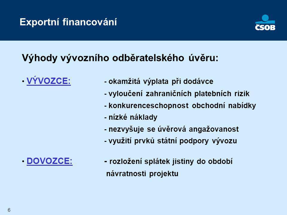 7 VÝVOZNÍ ODBĚRATELSKÝ ÚVĚR (Mezibankovní úvěrová dohoda) Český vývozceKupující Banka kupujícího (dlužník) 2) obchodní kontrakt zboží Splátky úvěru3) interní úvěrová smlouva Dokumenty Splátky úvěru 4) Úvěrová dohoda (dílčí, individuální) 1) rámcová úvěrová linka 6) Pojištění úvěrového rizika Výplata z úvěru (max.85%) Před čerpáním úvěru se uzavírají smlouvy: 1) v některých případech existuje mezibankovní rámcová úvěrová linka mezi ČSOB a zahraniční bankou dovozce (uzavřena předem) 2) obchodní kontrakt o dodávce mezi vývozcem a dovozcem 3) interní úvěrová smlouva mezi dovozcem a jeho bankou 4) dílčí (individuální) úvěrová dohoda mezi ČSOB a zahraniční bankou dovozce 5) smlouva o realizaci export.