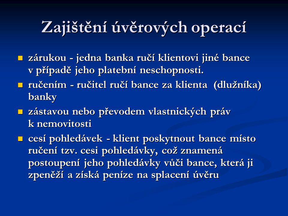 Zajištění úvěrových operací zárukou - jedna banka ručí klientovi jiné bance v případě jeho platební neschopnosti. zárukou - jedna banka ručí klientovi