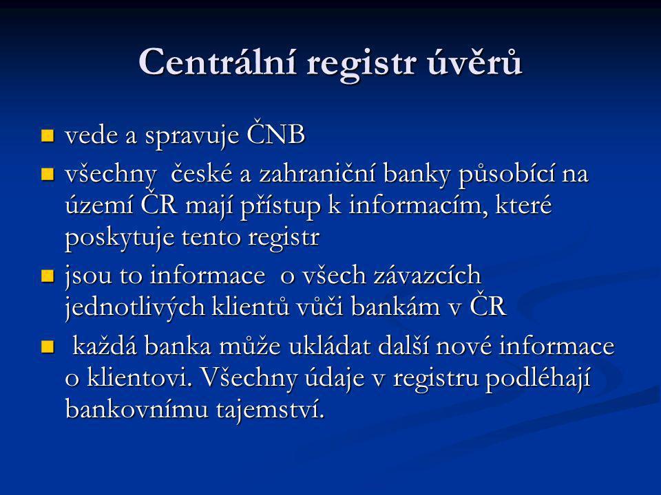 Centrální registr úvěrů vede a spravuje ČNB vede a spravuje ČNB všechny české a zahraniční banky působící na území ČR mají přístup k informacím, které