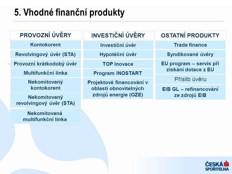 5. Vhodné finanční produkty PROVOZNÍ ÚVĚRY Kontokorent Revolvingový úvěr (STA) Provozní krátkodobý úvěr Multifunkční linka Nekomitovaný kontokorent Ne