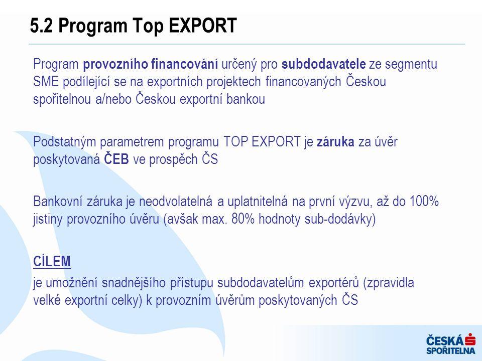 Program provozního financování určený pro subdodavatele ze segmentu SME podílející se na exportních projektech financovaných Českou spořitelnou a/nebo