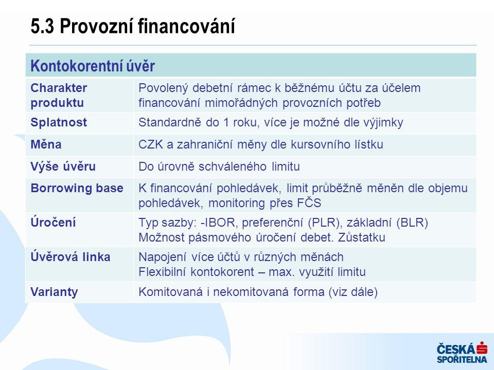 5.3 Provozní financování Kontokorentní úvěr Charakter produktu Povolený debetní rámec k běžnému účtu za účelem financování mimořádných provozních potř
