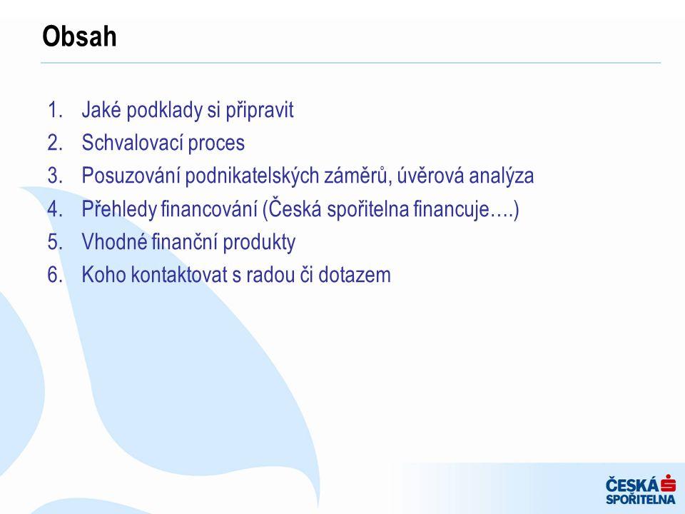 1.Jaké podklady si připravit 2.Schvalovací proces 3.Posuzování podnikatelských záměrů, úvěrová analýza 4.Přehledy financování (Česká spořitelna financ