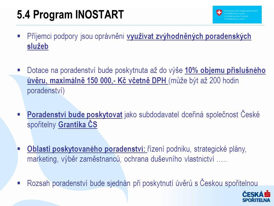 5.4 Program INOSTART  Příjemci podpory jsou oprávněni využívat zvýhodněných poradenských služeb  Dotace na poradenství bude poskytnuta až do výše 10