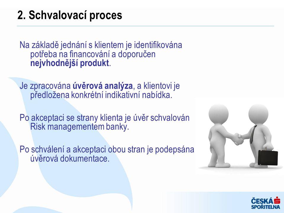 Na základě jednání s klientem je identifikována potřeba na financování a doporučen nejvhodnější produkt. Je zpracována úvěrová analýza, a klientovi je