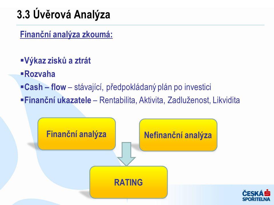 Finanční analýza zkoumá:  Výkaz zisků a ztrát  Rozvaha  Cash – flow – stávající, předpokládaný plán po investici  Finanční ukazatele – Rentabilita
