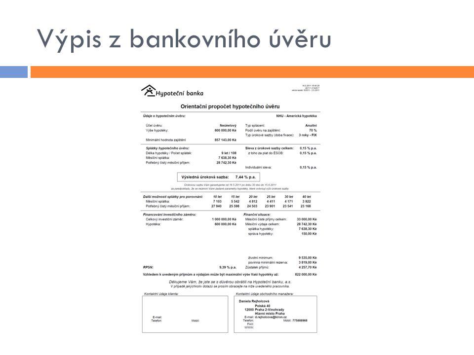 Výpis z bankovního úvěru