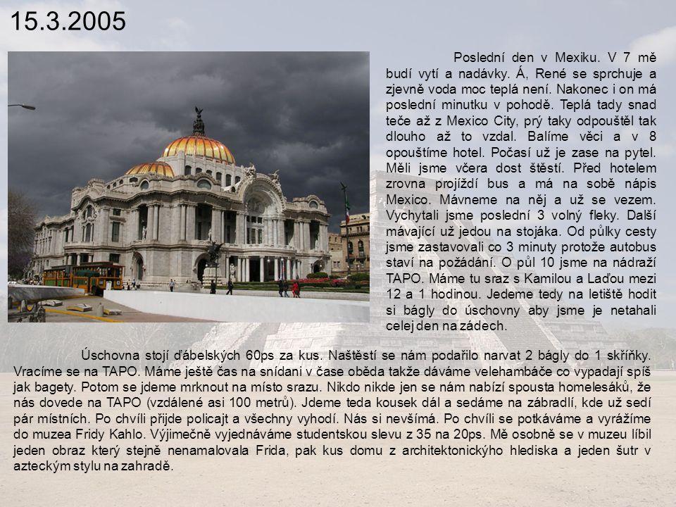 15.3.2005 Poslední den v Mexiku.V 7 mě budí vytí a nadávky.