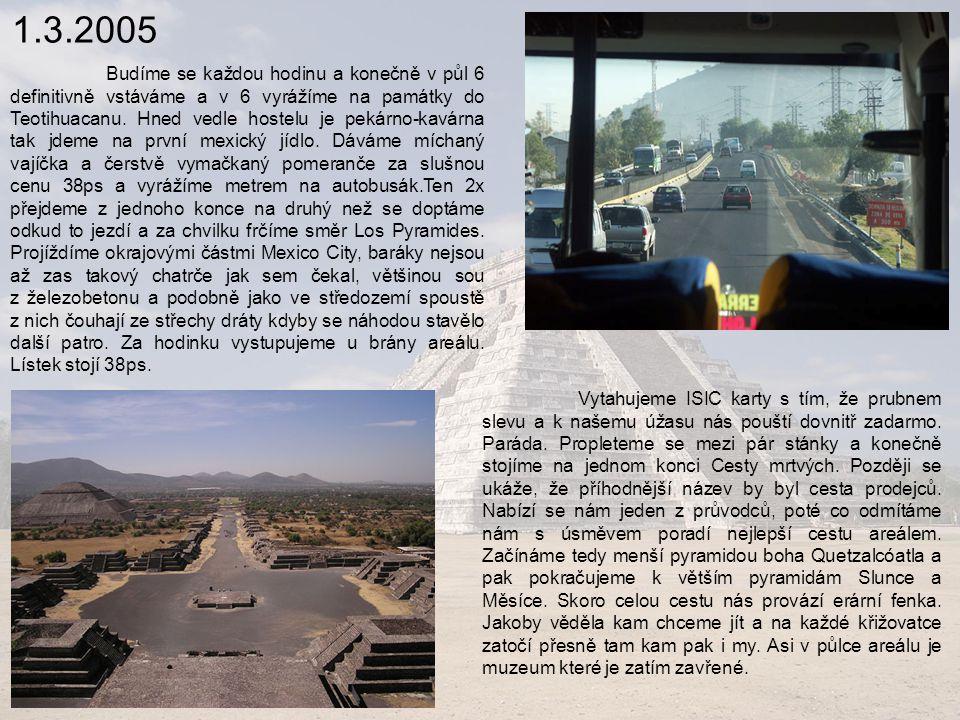 5.3.2005 Vstáváme v 6 ráno a jdeme nahánět colectivo do Chichen Itza, chceme tam být dřív než davy lidí.
