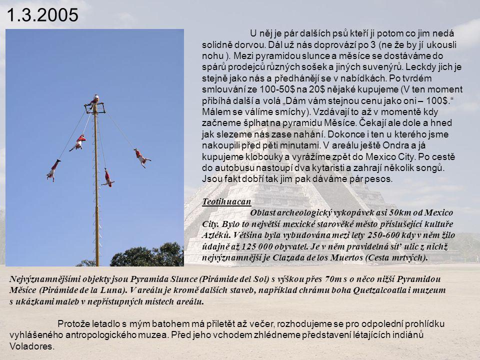 1.3.2005 Později zjistíme že je to jen 10 skupin po celém Mexiku a to je po cestě potkáme hned 3x.