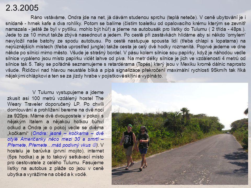 6.3.2005 Ubytováváme se v hotelu Posada Bonampak za 175ps na noc pro všechny, dáváme na pokoji rychlou snídani a sprchu a vyrážíme na pralesní ruiny v Palenque colectivem za 10ps každý.