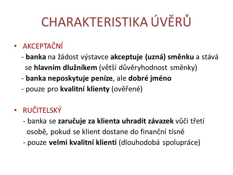 CHARAKTERISTIKA ÚVĚRŮ LOMBARDNÍ - poskytován na zástavu movité věci (př.