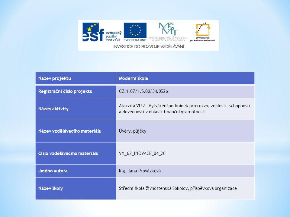 Název projektuModerní škola Registrační číslo projektuCZ.1.07/1.5.00/34.0526 Název aktivity Aktivita VI/2 - Vytváření podmínek pro rozvoj znalostí, sc