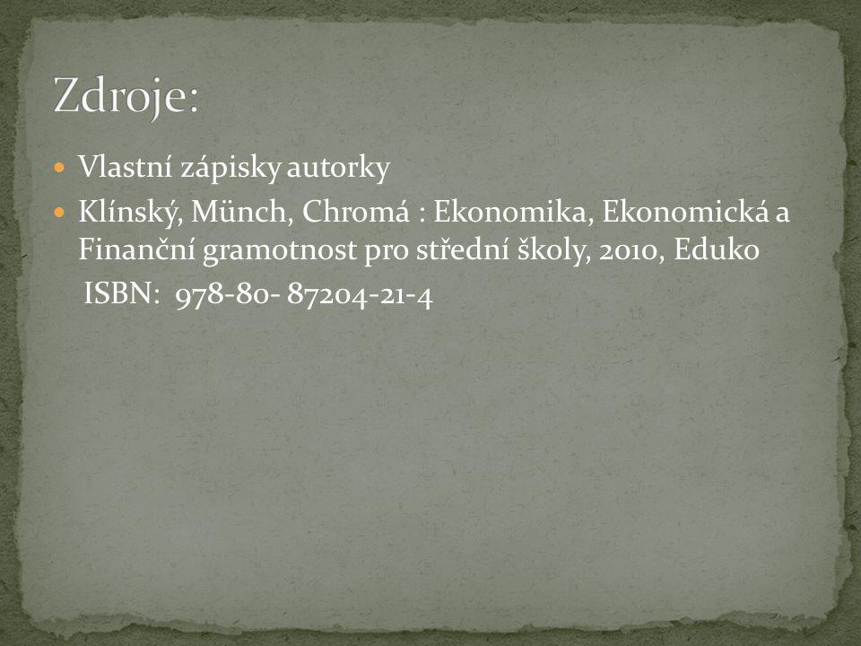 Vlastní zápisky autorky Klínský, Münch, Chromá : Ekonomika, Ekonomická a Finanční gramotnost pro střední školy, 2010, Eduko ISBN: 978-80- 87204-21-4