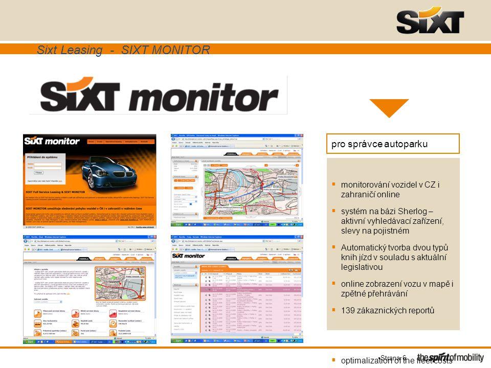 Strana 6 pro správce autoparku  monitorování vozidel v CZ i zahraničí online  systém na bázi Sherlog – aktivní vyhledávací zařízení, slevy na pojist