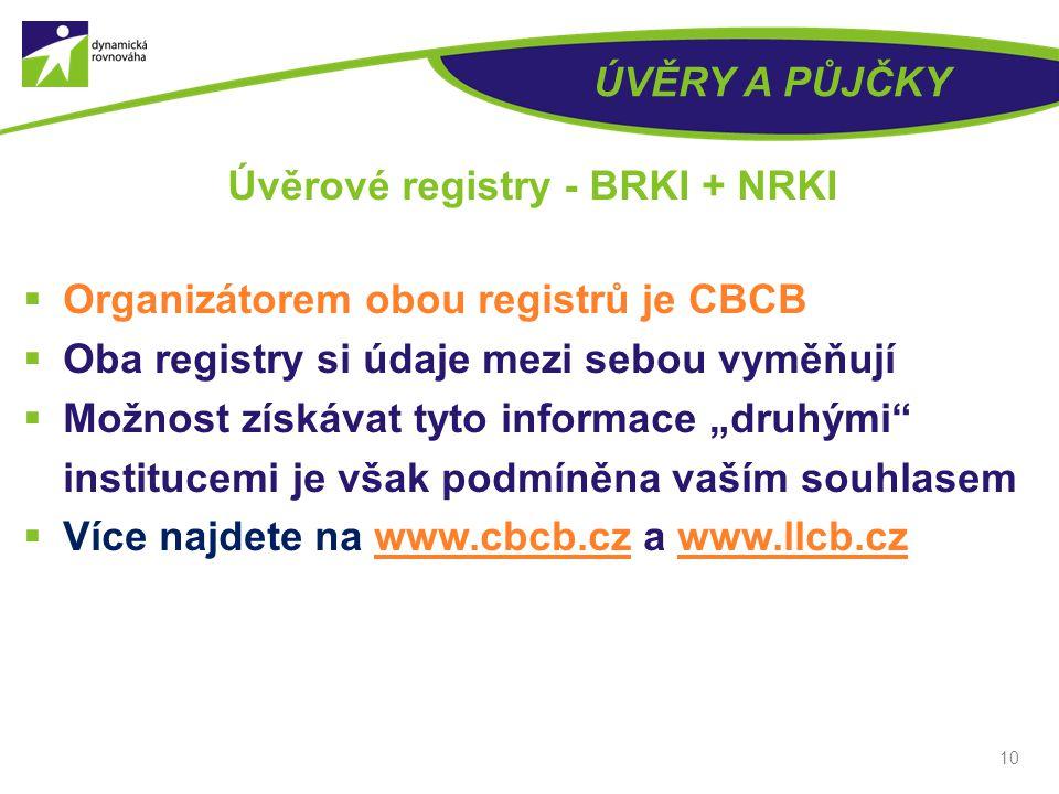 """ÚVĚRY A PŮJČKY  Organizátorem obou registrů je CBCB  Oba registry si údaje mezi sebou vyměňují  Možnost získávat tyto informace """"druhými institucemi je však podmíněna vaším souhlasem  Více najdete na www.cbcb.cz a www.llcb.czwww.cbcb.czwww.llcb.cz 10 Úvěrové registry - BRKI + NRKI"""