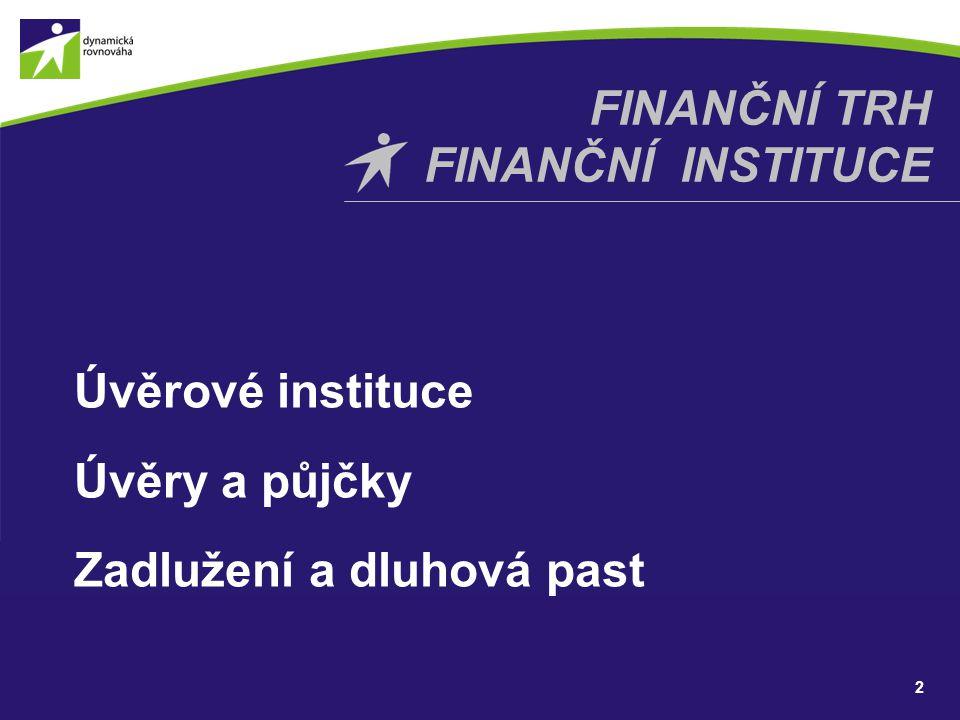 Úvěrové instituce Úvěry a půjčky Zadlužení a dluhová past 2 FINANČNÍ TRH FINANČNÍ INSTITUCE
